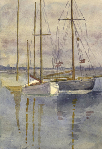 Sailboats with Water Reflection - Original 1911 watercolour painting
