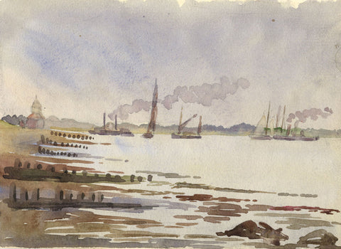 Steam & Sailboats on the Harbour - Original 1911 watercolour painting