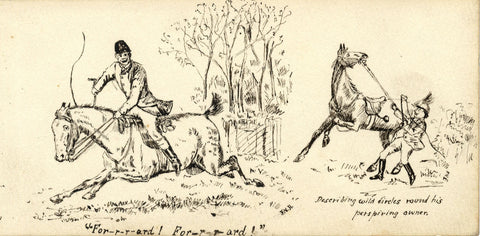 J.N.H. , Soldier and a Wild Horse  -Original late 19th-century pen & ink drawing