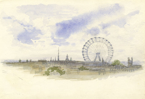 Barry Pittar RBA, Earl's Court Ferris Wheel - Original 1904 watercolour painting