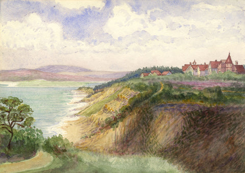 Barry Pittar RBA, Cliff Houses - Original 1903 watercolour painting
