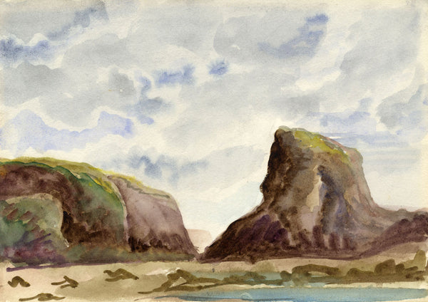 Barry Pittar RBA, Beach Rocky Outcrop - Early 20th-century watercolour painting