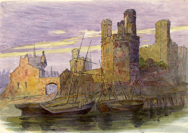 Barry Pittar RBA, Caernarfon Castle, Wales - Early 20th-century watercolour
