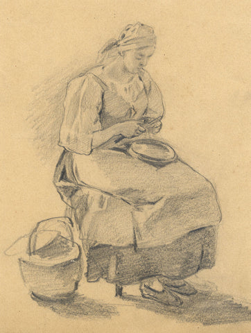 Servant Woman Peeling Potatoes - Original early 20th-century graphite drawing