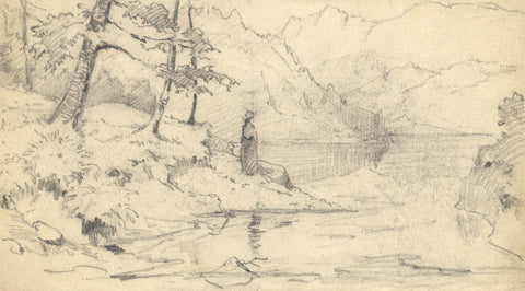 Figure Standing near a Wooded Lake - Original late 19th-century graphite drawing