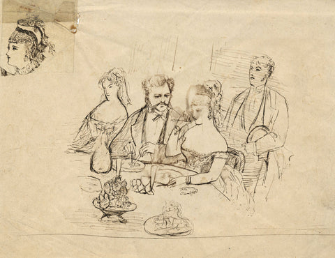 A Victorian Dinner Party - Original late 19th-century pen & ink drawing