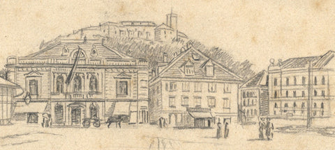 Continental City Study - Original late 19th-century graphite drawing