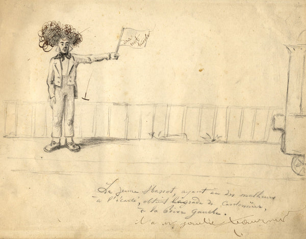 Roadmender French Caricature - Original mid-19th-century graphite drawing
