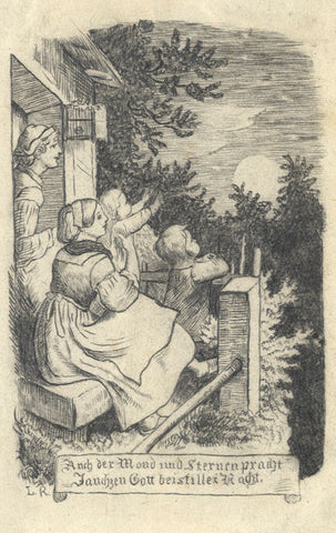 God Greets the Moon & Stars at Night - Mid-19th-century graphite drawing