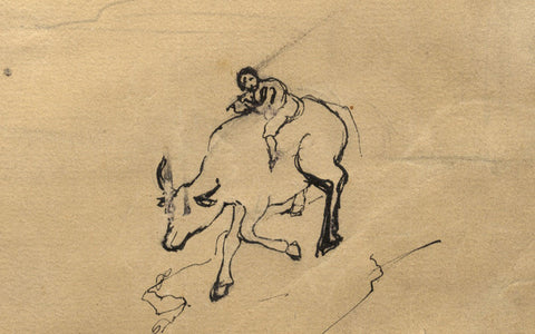 Boy Riding a Bull Down a Mountain - Original mid-19th-century pen & ink drawing