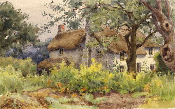 A.K. Rudd, English Thatched Cottage - Original 1897 watercolour painting