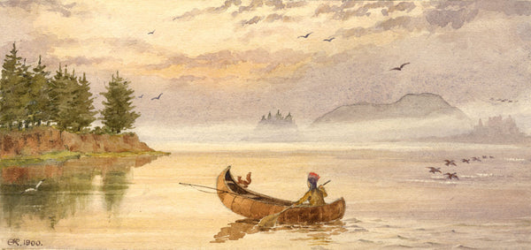 A.K. Rudd, Indian in Canoe on a Lake - Original 1900 watercolour painting
