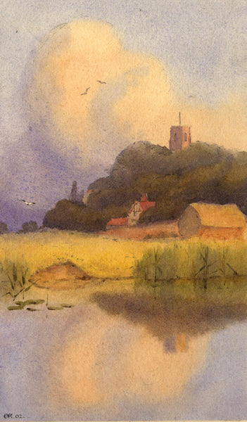 A.K. Rudd, Church in Autumn Sunset - Original 1902 watercolour painting