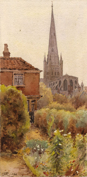 A.K. Rudd, Salisbury Cathedral - Original late 19th-century watercolour painting