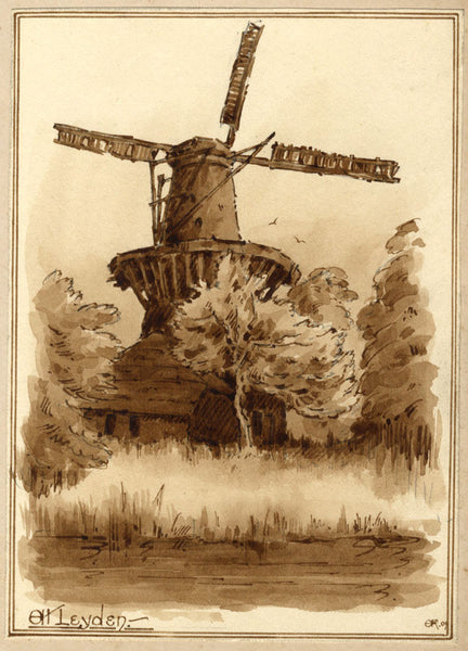 A.K. Rudd, Dutch Windmill, Oudt Leyden - Original 1905 watercolour painting