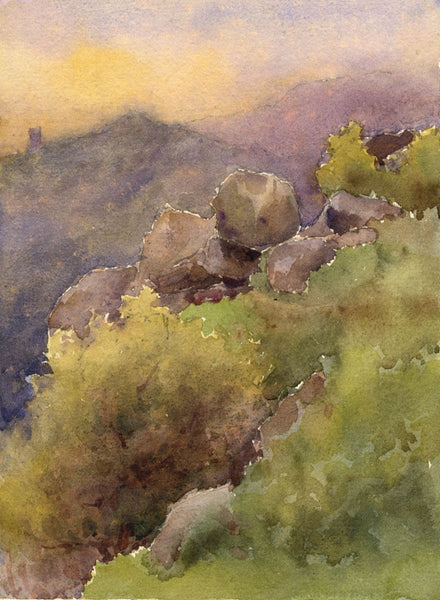 A.K. Rudd, Sunset Outcrop View - Original late 19th-century watercolour painting