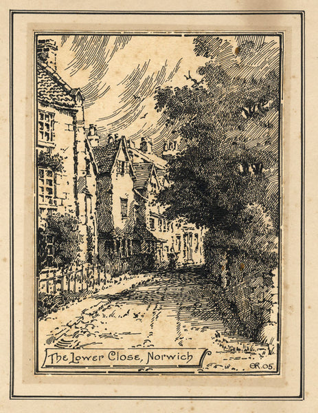 A.K. Rudd, The Lower Close, Norwich - Original 1905 pen & ink drawing