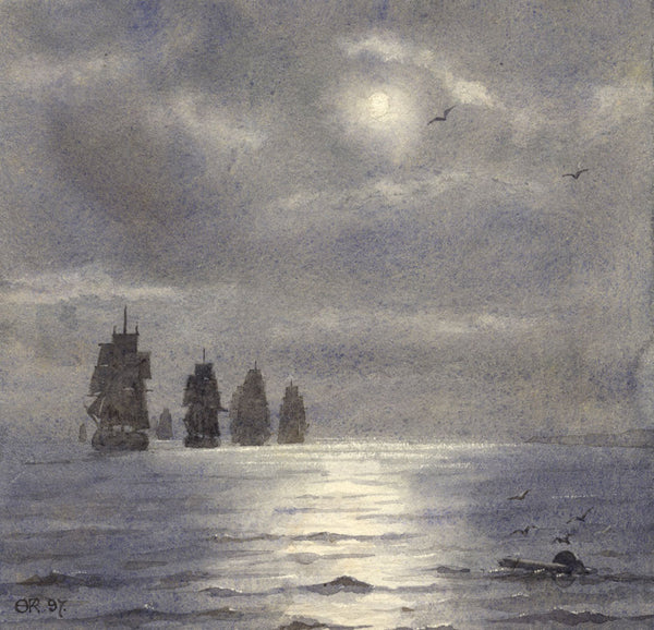 A.K. Rudd, Flotilla Ships in Moonlight - Original 1897 watercolour painting