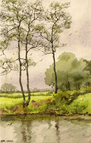 A.K. Rudd, Rural River Foliage - Original 1900 watercolour painting