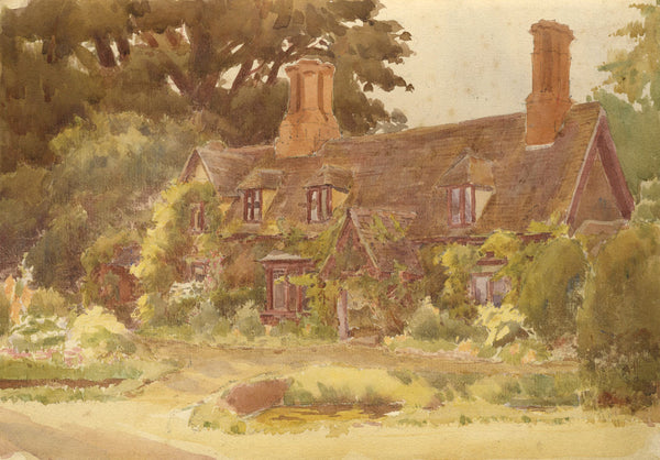 A.K. Rudd, English Country House - Late 19th-century watercolour painting