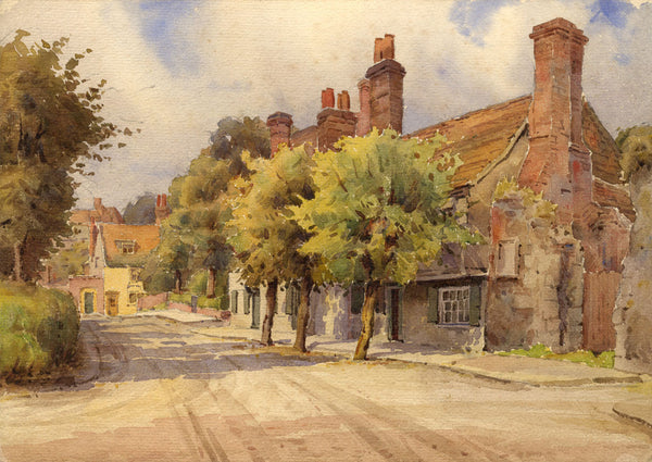 A.K. Rudd, Country Village View -Original late 19th-century watercolour painting