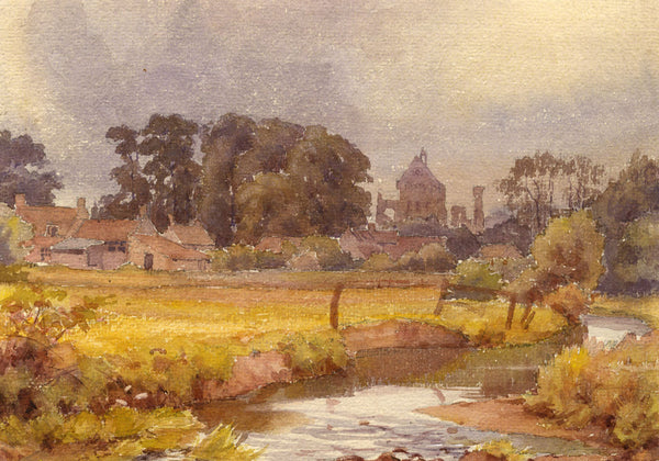 A.K. Rudd, View of Abbey Ruins - Original late 19th-century watercolour painting