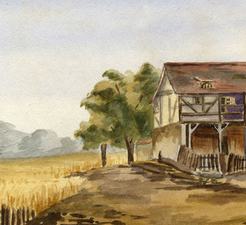 A.L. Baclenwater, Farm Stables - Original mid-19th-century watercolour painting
