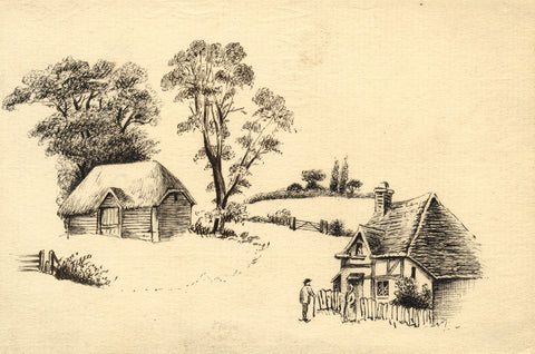 Rural Cottages with Figures - Original mid-19th-century pen & ink drawing