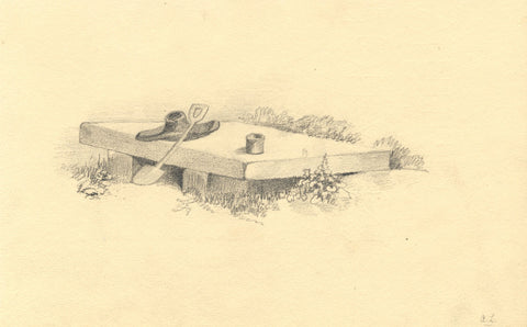 A.L. , Hat and Shovel Still Life - Original mid-19th-century graphite drawing