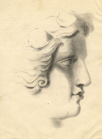 Sculptural Head in Profile - Original mid-19th-century graphite drawing