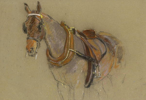 Alice Des Clayes ARCA, Horse in Harness - early 20th-century pastel drawing