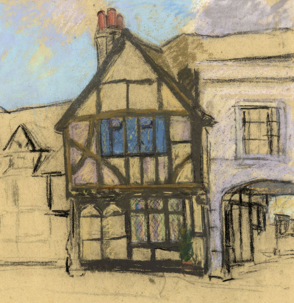Alice Des Clayes, Half-timbered Tudor House - 20th-century pastel drawing