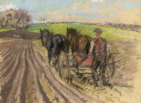 Alice Des Clayes, Ploughman with Horses - Original 20th-century pastel drawing