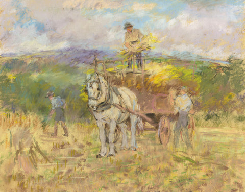Alice Des Clayes, Haymakers with Horse - Original 20th-century pastel drawing