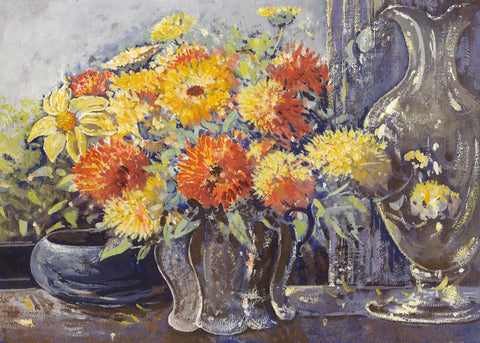 Alice Des Clayes ARCA, Chrysanthemum Flowers - 20th-century gouache painting