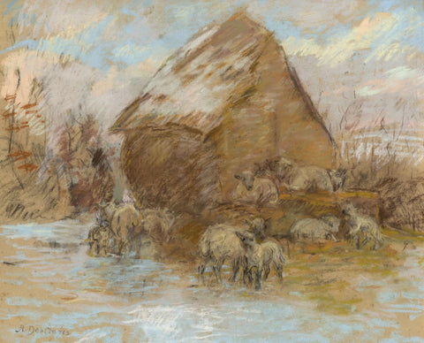 Alice Des Clayes, Sheep and Shepherd's Hut - Original 20th-century pastel