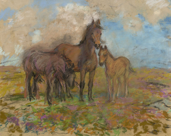 Alice Des Clayes ARCA, Horse & Foal - Original early 20th-century pastel drawing