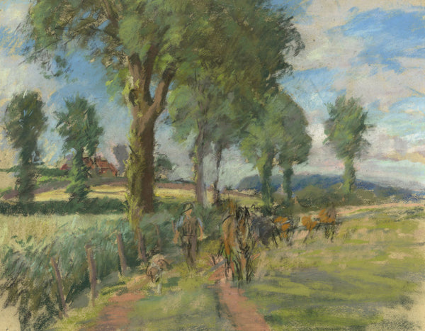 Alice Des Clayes, Farmer with his Dog & Horses - 20th-century pastel drawing