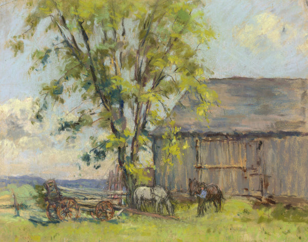 Alice Des Clayes ARCA, Barn, Wagon & Horses - early 20th-century pastel drawing