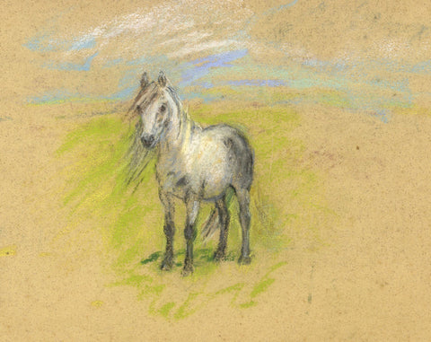 Alice Des Clayes ARCA, Pony Horse - Original early 20th-century pastel drawing
