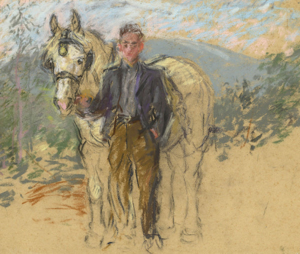 Alice Des Clayes, Farm Hand and Horse - Original 20th-century pastel drawing