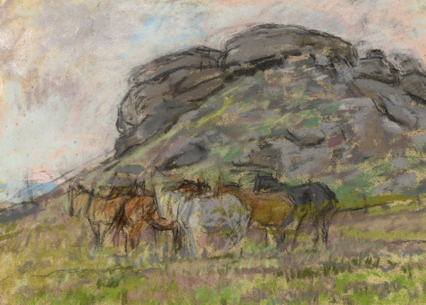 Alice Des Clayes ARCA, Horses - Original early 20th-century pastel drawing