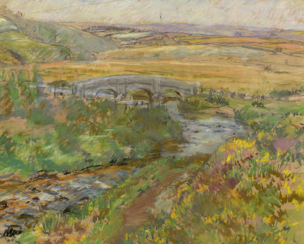 Alice Des Clayes, Landscape with Bridge - Original 20th-century pastel drawing