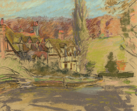 Alice Des Clayes, Half-timbered Houses - Original 20th-century pastel drawing