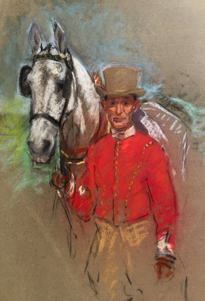 Alice Des Clayes ARCA, Horse & Groom - early 20th-century pastel drawing
