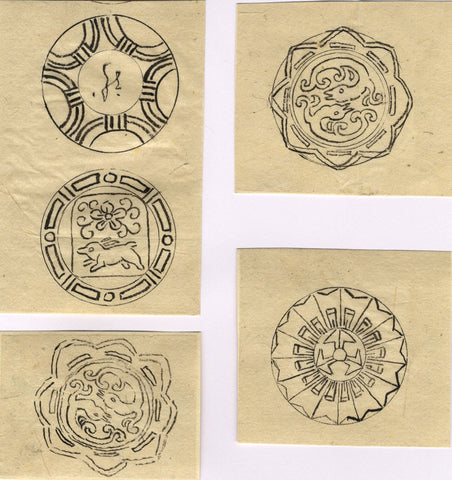 Japanese Family Crests - Original 19th-century graphite drawing
