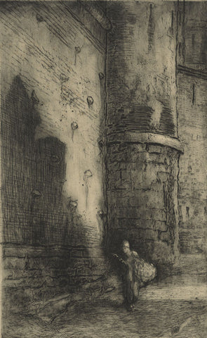 Hal Hurst RBA RI, French Peasant & Castle - early 20th-century etching print