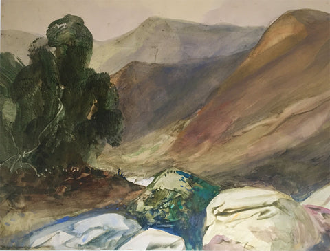 Hal Hurst RBA RI, Mountain Pass - early 20th-century watercolour painting