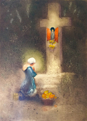 Hal Hurst RBA RI, Woman at Shrine - Original early 20th-century aquatint print