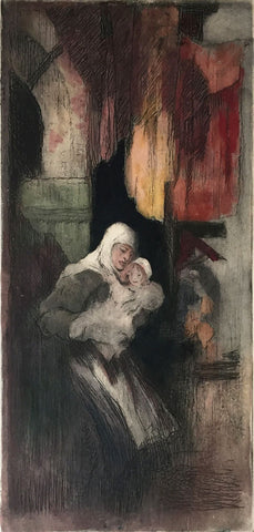 Hal Hurst RBA RI, Mother and Child - Original early 20th-century etching print